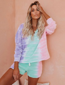 Fashion Purple Green Red Tie-dye Gradient Drawstring Long Sleeve Hooded Sweater Shorts Suit