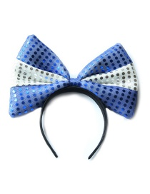 Fashion Blue White Blue Large Bowknot Sequins Stitching Contrast Color Headband