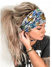 Fashion Butterfly Milk Silk Butterfly Leaf Geometric Print Wide-brimmed Hair Band