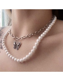 Fashion White Butterfly Pearl Alloy Double Drop Necklace