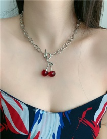 Fashion Red Cherry Cherry Ot Buckle Alloy Resin Hollow Necklace