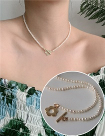 Fashion White Handmade Pearl Flower Ot Buckle Alloy Hollow Necklace