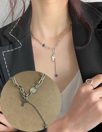 Fashion Silver Stainless Steel Cross Chain Disc Tassel Necklace