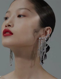 Fashion Silver Chain Tassel Alloy Earrings Studded With Diamonds