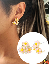 Fashion Yellow Crystal Braided Flower Alloy Earrings