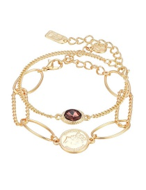 Fashion Golden Round Relief Crystal Hollow Chain Stitching Multi-layer Bracelet