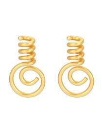 Fashion Golden Bulb Spiral Hollow Alloy Earrings