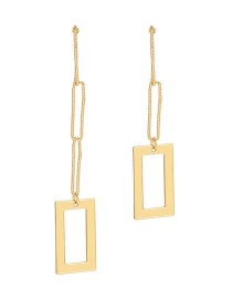 Fashion Golden Rectangular Chain Cutout Asymmetric Earrings