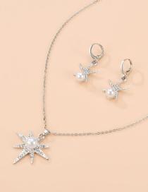 Fashion Silver Alloy Diamond Pearl Necklace Earrings
