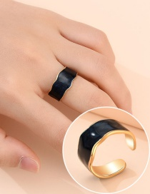 Fashion Golden Alloy Round Oil Drop Wide-breasted Ring