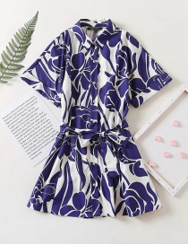 Fashion Blue Printed Belted Shirt Dress
