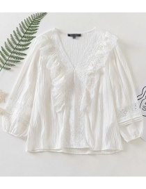Fashion White Ruffled Deep V-neck Stitching Lace Shirt