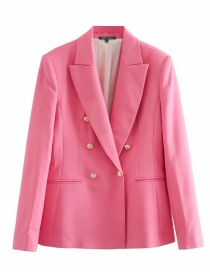 Fashion Pink Double Breasted Slim Single-breasted Blazer