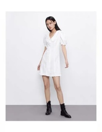 Fashion White Lotus Leaf Collar Puff Sleeve Lace Dress