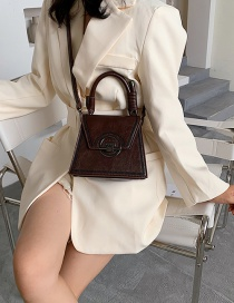Fashion Coffee Color Shoulder Crossbody Bag With Embroidery Thread Lock