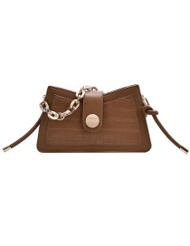 Fashion Brown Crocodile Acrylic Chain Diagonal Shoulder Bag