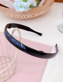 Fashion Bright Black Folded Thin Edge Toothed Non-slip Resin Headband
