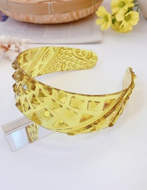 Fashion Yellow Transparent Plastic Geometric Wide-brimmed Hair Band