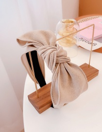 Fashion Beige Hand-knotted Bowknot Wide-brimmed Headband