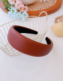 Fashion Wine Red Pu Leather Wide-brimmed Sponge Solid Color Headband