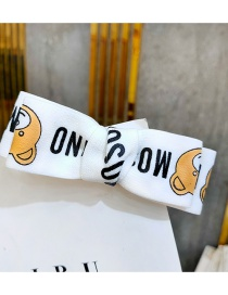 Fashion White Bear Duckbill Clip Double-sided Bow Print Hairpin With Wide Border Letters