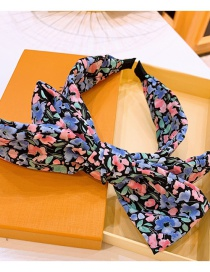 Fashion Black Floral Print Large Bowknot Double-layer Wide-brimmed Headband