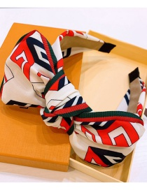Fashion Beibaihong Colorblock Note Letters Contrast Color Striped Bow Headband