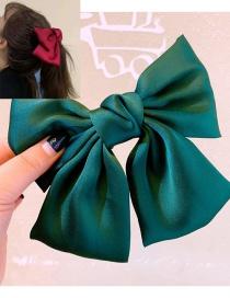Fashion Green Simulation Silk Big Bow Hairpin