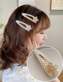 Fashion Pink Imitation Pearl Flower Crystal Braided Hollow Alloy Hairpin