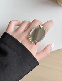 Fashion Transparent Faceted Gemstone Open Alloy Ring