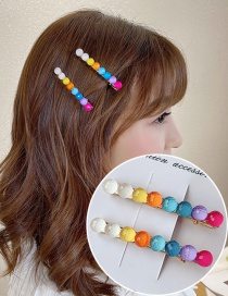 Fashion Color Mixing Resin Hit Color Ball Alloy Hairpin Set