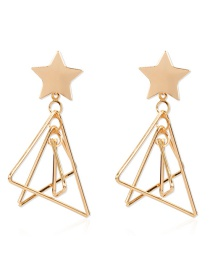 Fashion Golden Alloy Geometric Pentagram Hollow Earrings