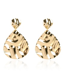 Fashion Golden Alloy Geometric Drop Shaped Irregular Concave And Convex Earrings