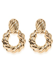 Fashion Golden Alloy Oval Thread Earrings