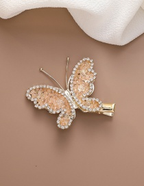 Fashion Orange Crystal Butterfly Alloy Hair Clip