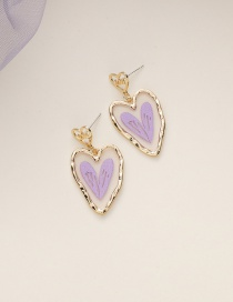 Fashion Purple Love Resin Alloy Earrings
