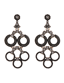 Fashion Black Alloy Round Diamond Stud Earrings