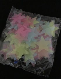 Fashion Color 3.8cm Luminous Star Luminous Stereo Wall Sticker 100 Pieces/pack