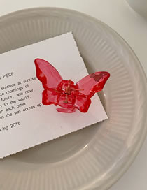 Fashion Rose Red Trumpet Butterfly Transparent Color Hair Catch