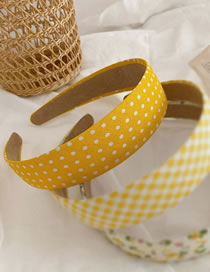 Fashion Yellow Line-wave Point Wide Side Wave Dot Lattice Floral Headband
