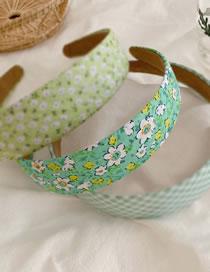 Fashion Green Department-flowers Wide Side Wave Dot Lattice Floral Headband
