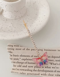 Fashion Single Butterfly-pink Purple Colorful Butterfly Rhinestone Clip