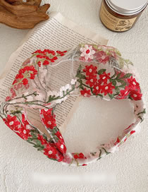 Fashion Red Pink Lace Embroidery Flower Headband