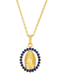 Fashion Blue Gold Plated Virgin Mary Pendant Hollow Necklace