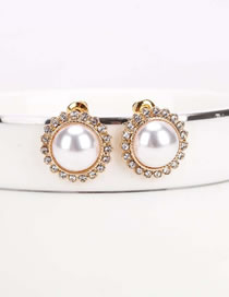Fashion Golden Round Alloy Earrings With Diamonds And Pearls