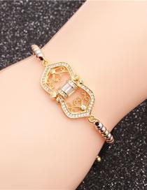 Fashion Mixed Color Bead Chain Geometry Micro-set Zircon Geometric Adjustable Bracelet