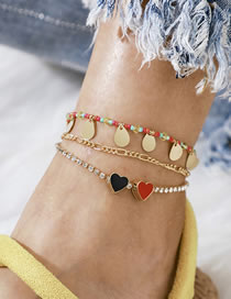 Fashion Color Mixing Disc Tassel Love Bead Anklet Set