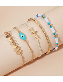 Fashion Color Mixing Dove Tassel Round Eye Anklet Set