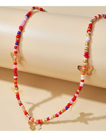 Fashion Red Alloy Butterfly Handmade Rice Bead Necklace