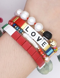 Fashion Set Color Mixing Natural Beaded Alloy Letter Elastic Geometry Bracelet